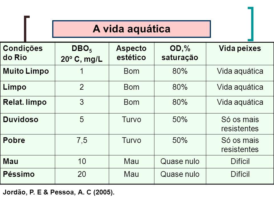 A vida aquática Condições do Rio DBO5 20º C, mg/L Aspecto estético