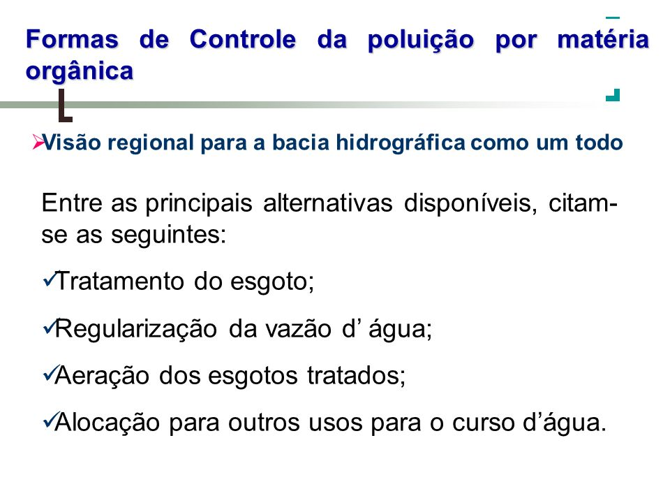 Formas de Controle da poluição por matéria orgânica