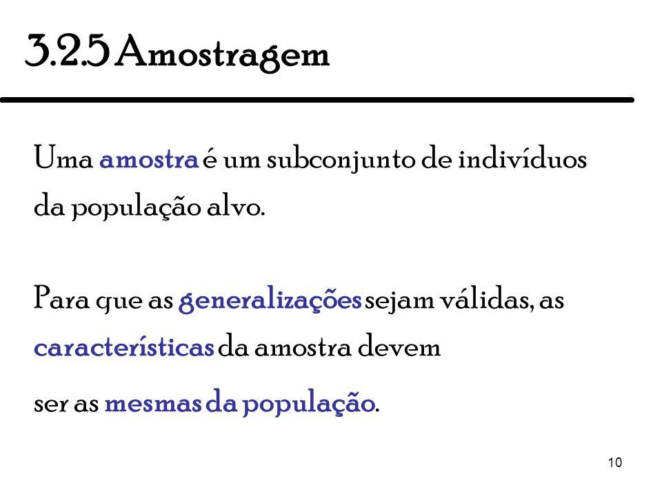 3.2.5 Amostragem Uma amostra é um subconjunto de indivíduos da população alvo.
