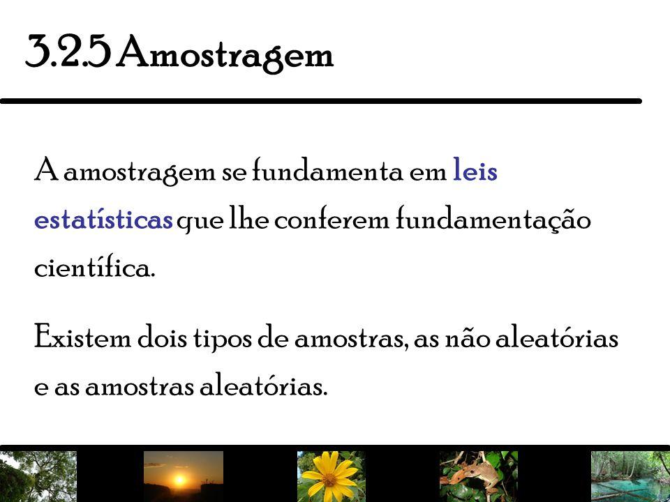 3.2.5 AmostragemA amostragem se fundamenta em leis estatísticas que lhe conferem fundamentação científica.