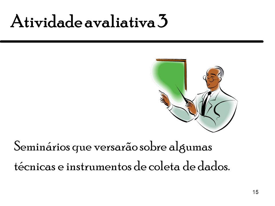 Atividade avaliativa 3Seminários que versarão sobre algumas técnicas e instrumentos de coleta de dados.
