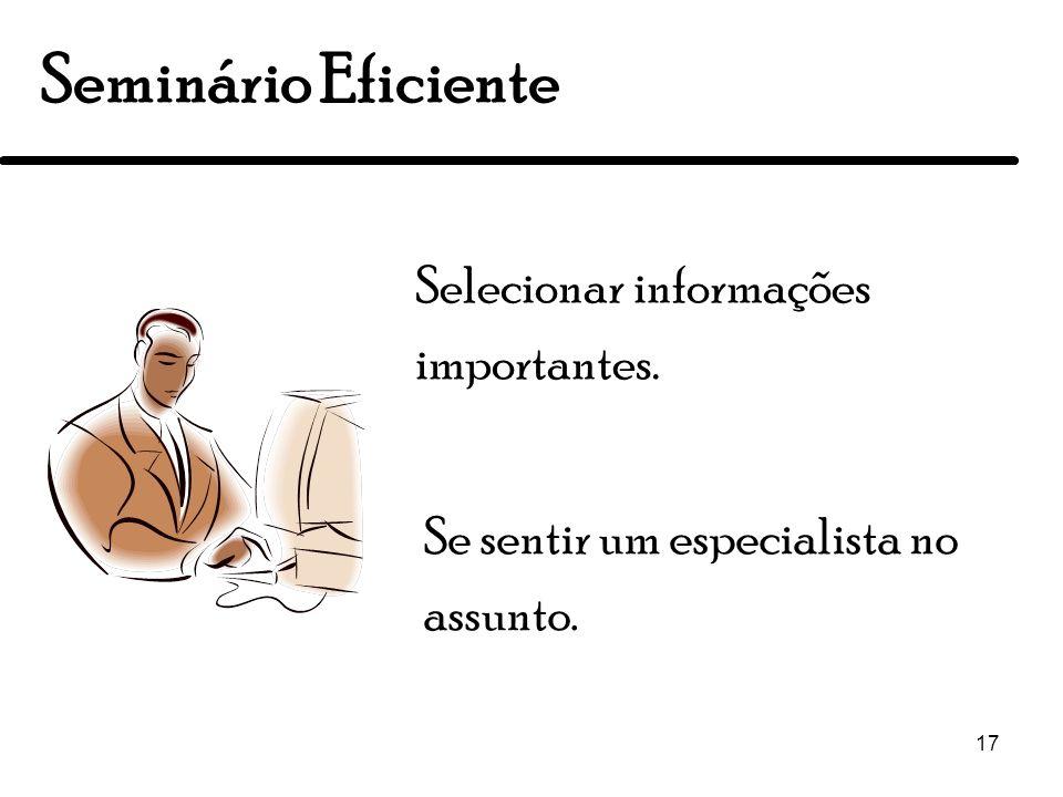 Seminário Eficiente Selecionar informações importantes.