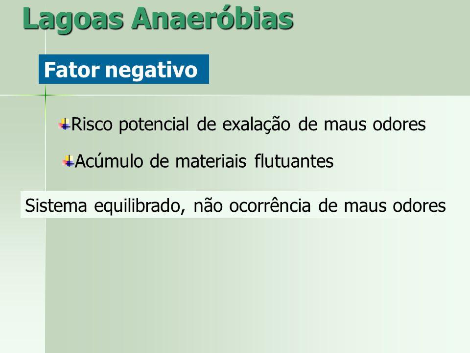 Lagoas Anaeróbias Fator negativo