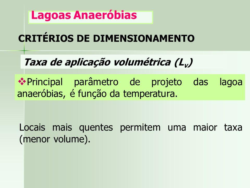 Lagoas Anaeróbias CRITÉRIOS DE DIMENSIONAMENTO