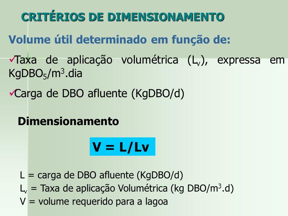 V = L/Lv CRITÉRIOS DE DIMENSIONAMENTO