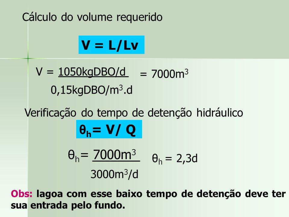 V = L/Lv θh= V/ Q θh= 7000m3 Cálculo do volume requerido
