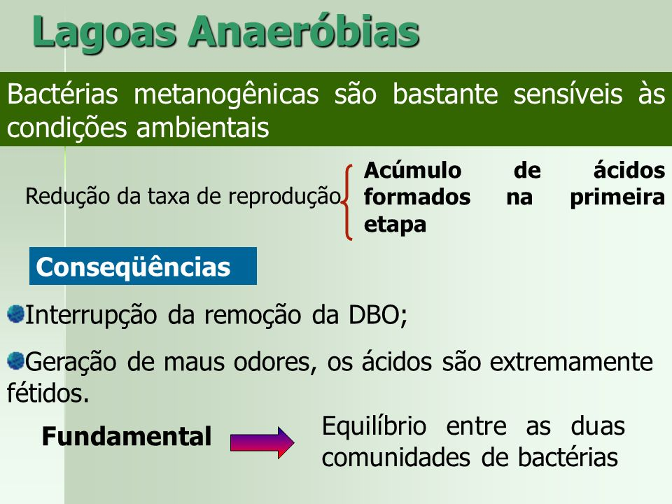 Lagoas Anaeróbias Bactérias metanogênicas são bastante sensíveis às condições ambientais. Acúmulo de ácidos formados na primeira etapa.