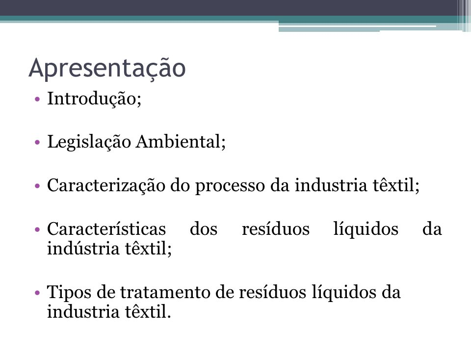Apresentação Introdução; Legislação Ambiental;