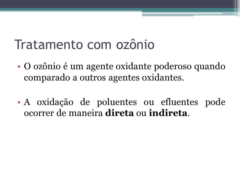 Tratamento com ozônio O ozônio é um agente oxidante poderoso quando comparado a outros agentes oxidantes.