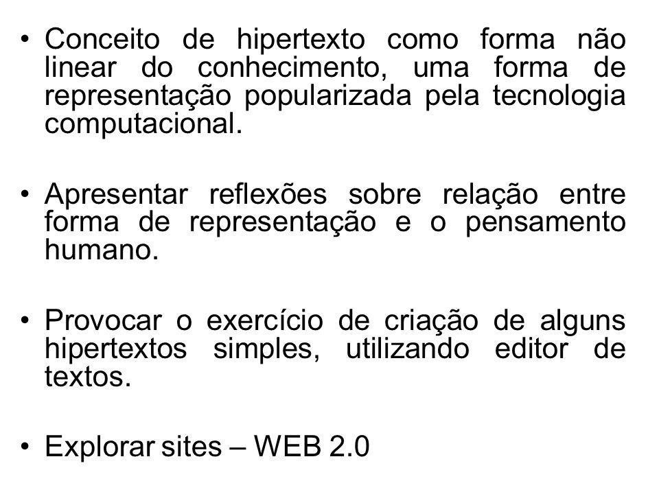 Conceito de hipertexto como forma não linear do conhecimento, uma forma de representação popularizada pela tecnologia computacional.