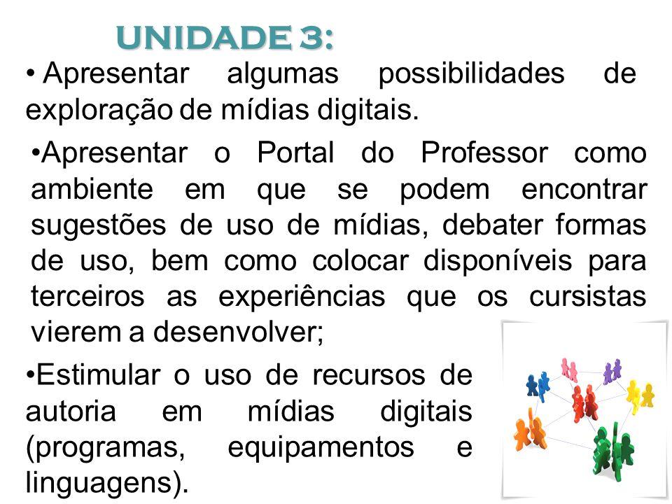 UNIDADE 3: Apresentar algumas possibilidades de exploração de mídias digitais.