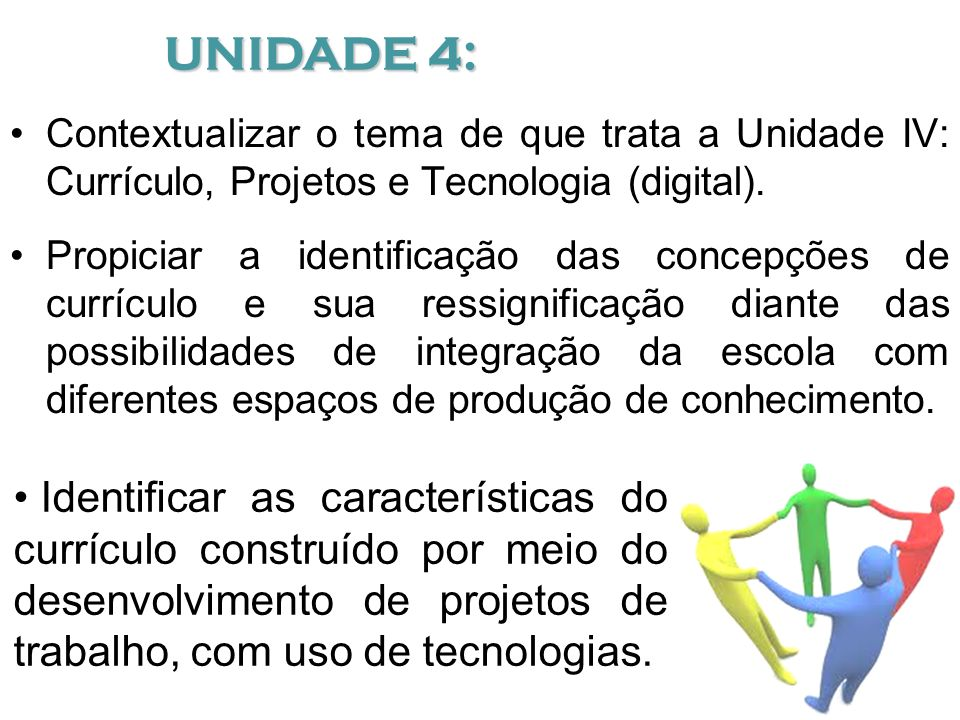 UNIDADE 4: Contextualizar o tema de que trata a Unidade IV: Currículo, Projetos e Tecnologia (digital).