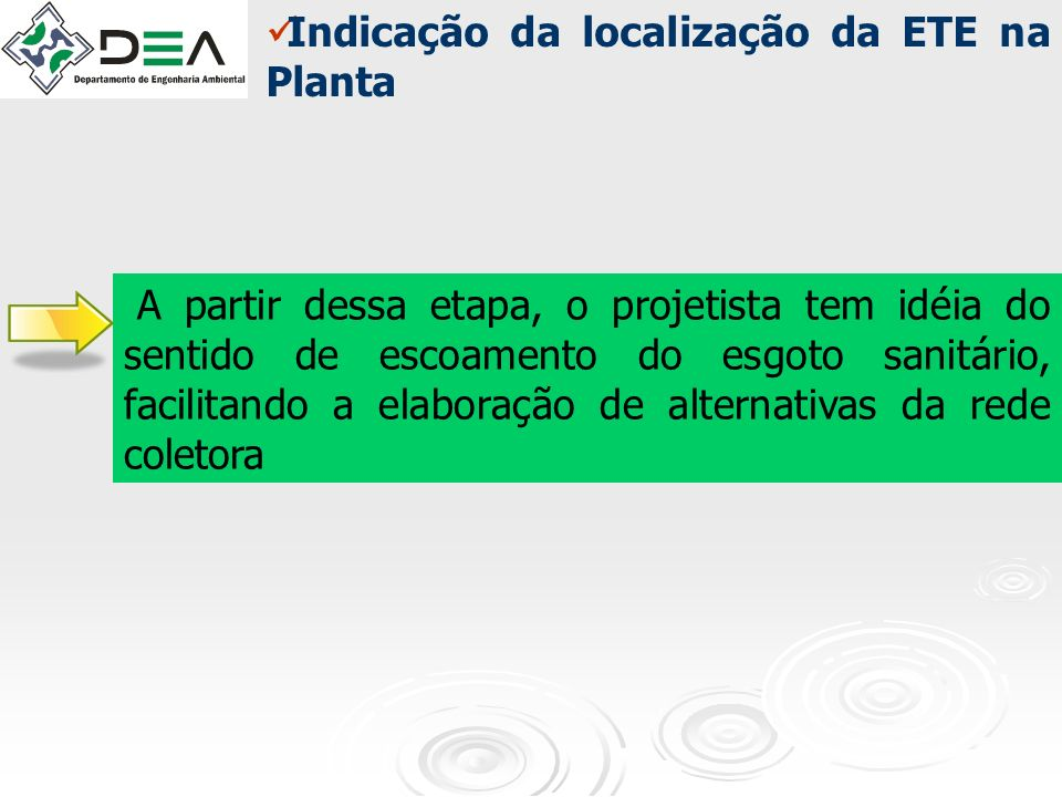 Indicação da localização da ETE na Planta