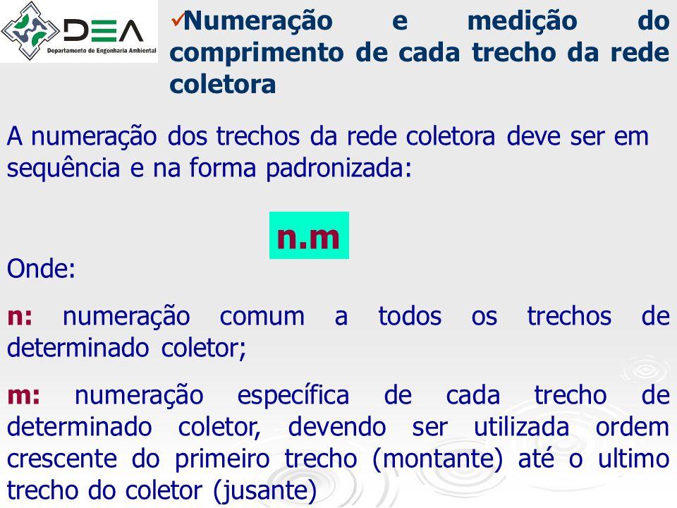 n.m Numeração e medição do comprimento de cada trecho da rede coletora