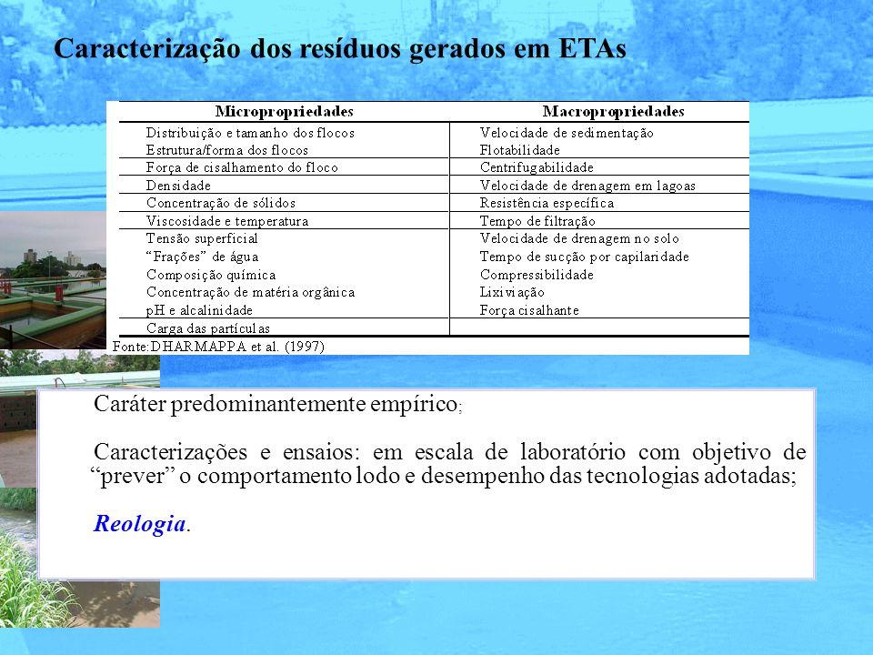 Caracterização dos resíduos gerados em ETAs