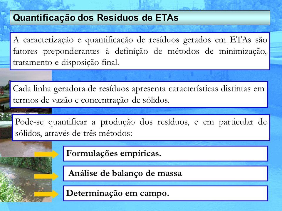 Quantificação dos Resíduos de ETAs