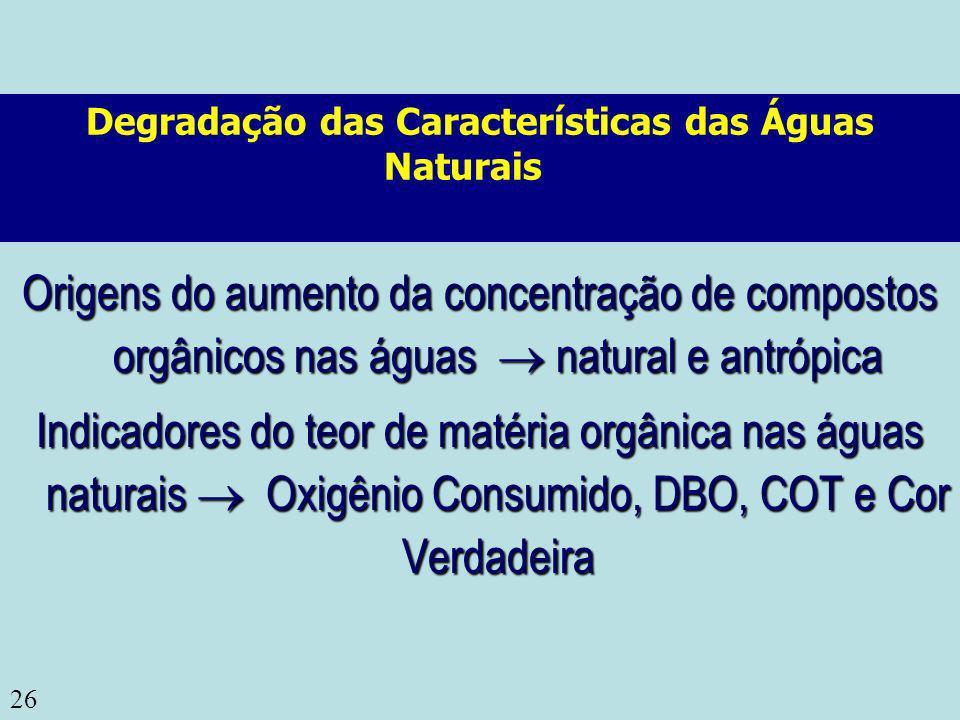 Degradação das Características das Águas Naturais