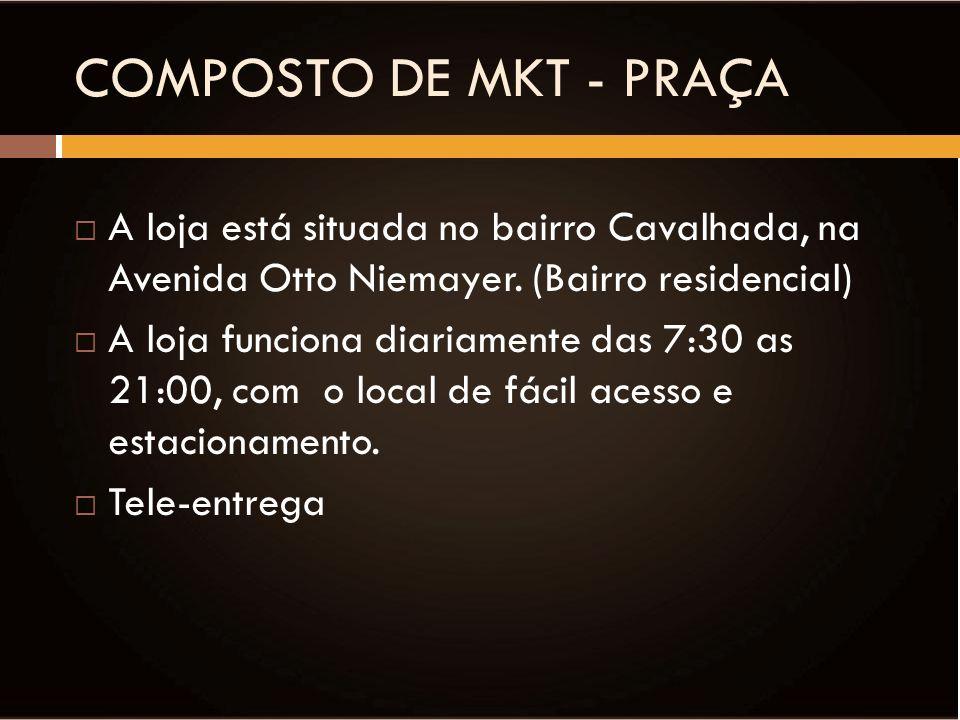COMPOSTO DE MKT - PRAÇA A loja está situada no bairro Cavalhada, na Avenida Otto Niemayer. (Bairro residencial)