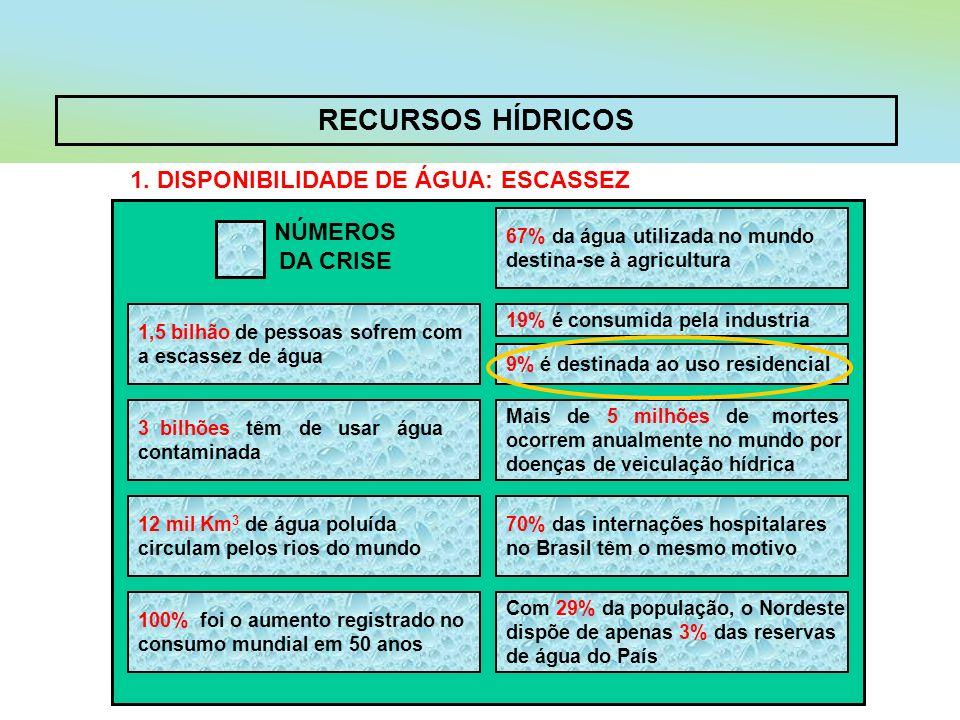 RECURSOS HÍDRICOS 1. DISPONIBILIDADE DE ÁGUA: ESCASSEZ NÚMEROS