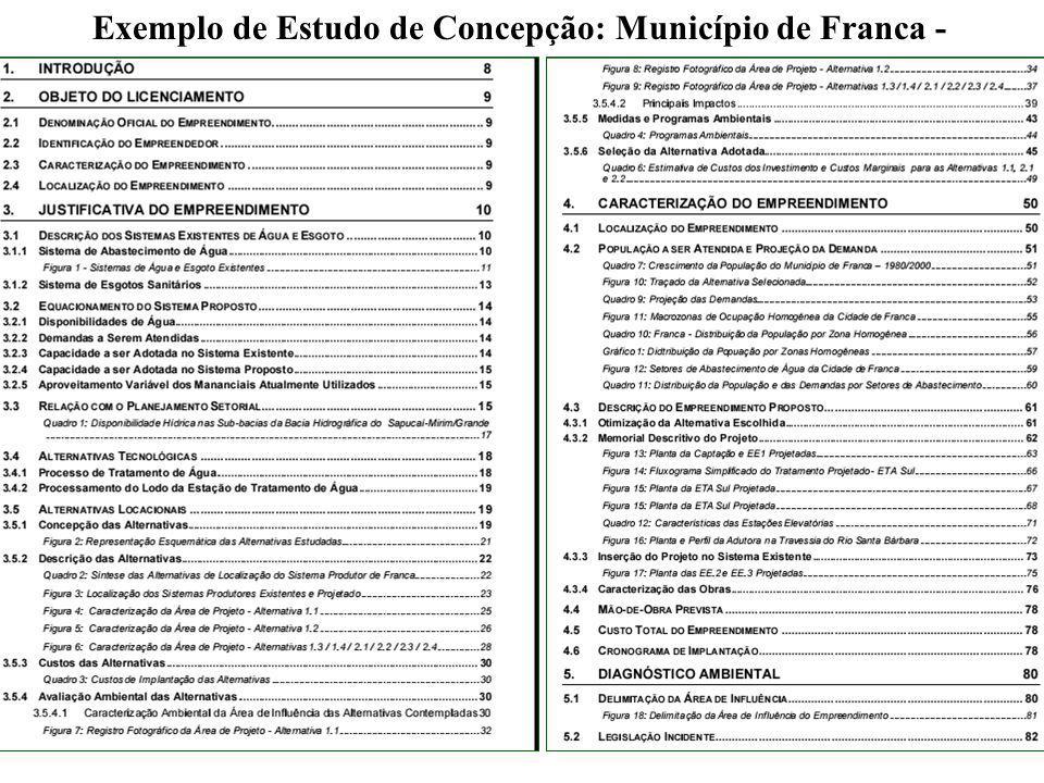 Exemplo de Estudo de Concepção: Município de Franca - SP