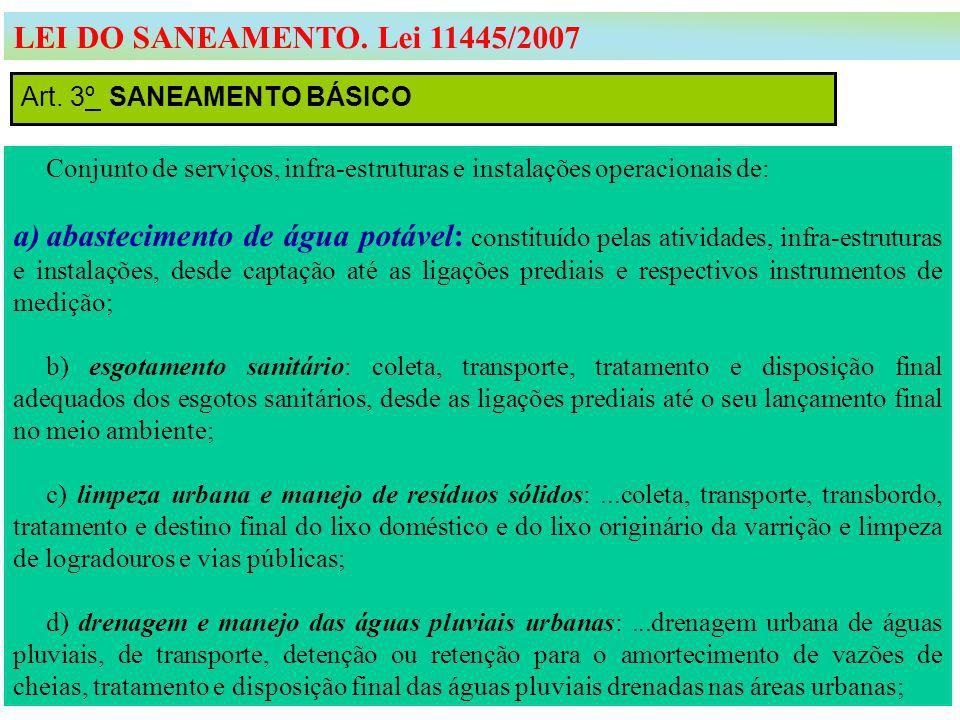 LEI DO SANEAMENTO. Lei 11445/2007 Art. 3º SANEAMENTO BÁSICO. Conjunto de serviços, infra-estruturas e instalações operacionais de: