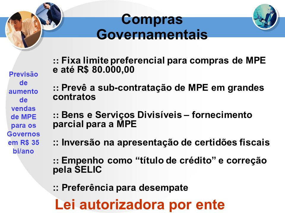 Compras Governamentais Lei autorizadora por ente