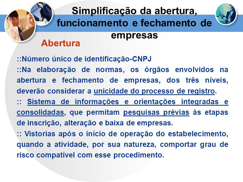 Simplificação da abertura, funcionamento e fechamento de empresas