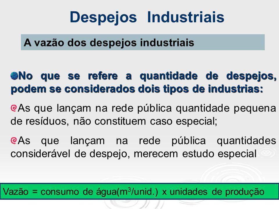Despejos Industriais A vazão dos despejos industriais
