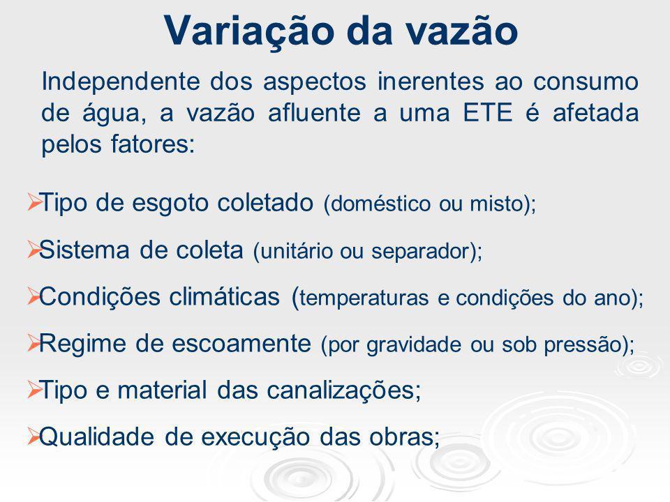 Variação da vazãoIndependente dos aspectos inerentes ao consumo de água, a vazão afluente a uma ETE é afetada pelos fatores: