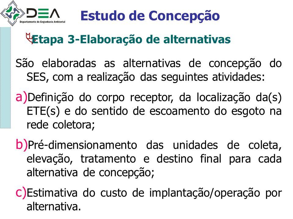 Estudo de Concepção Etapa 3-Elaboração de alternativas
