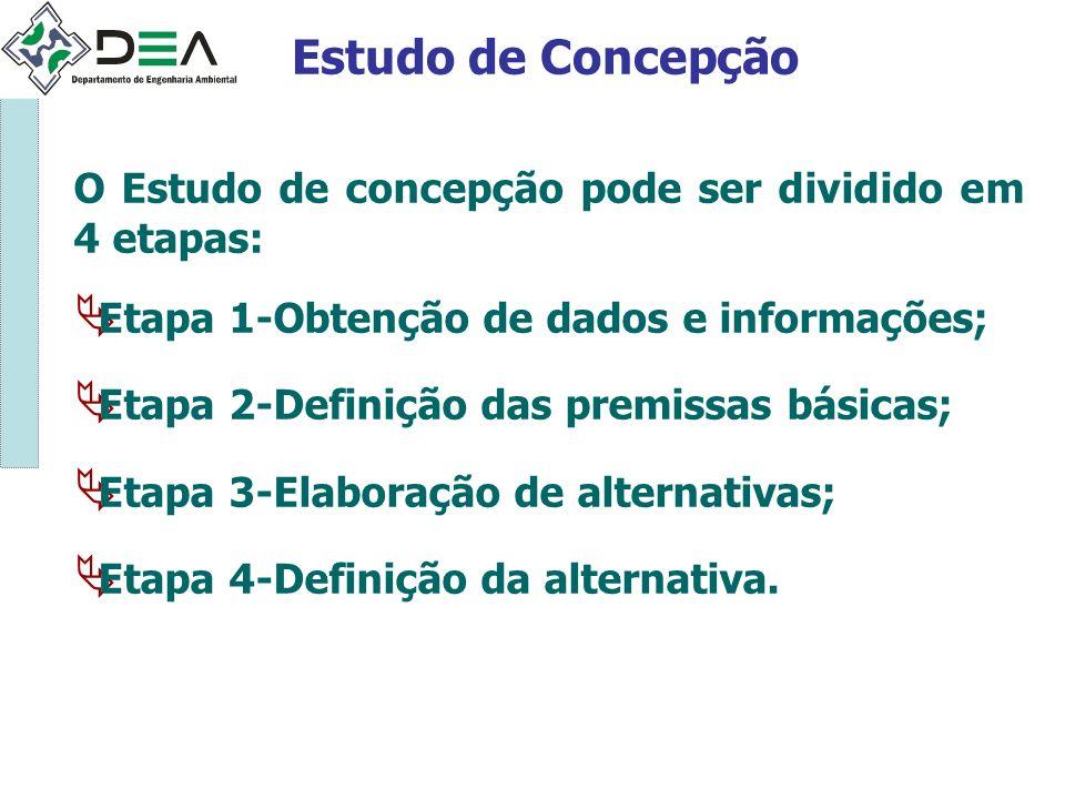 Estudo de Concepção O Estudo de concepção pode ser dividido em 4 etapas: Etapa 1-Obtenção de dados e informações;