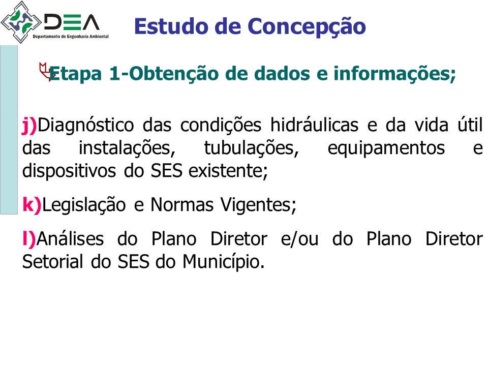 Estudo de Concepção Etapa 1-Obtenção de dados e informações;