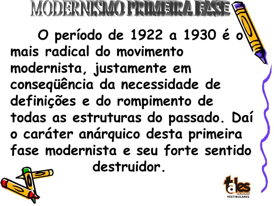 O período de 1922 a 1930 é o mais radical do movimento modernista, justamente em conseqüência da necessidade de definições e do rompimento de todas as estruturas do passado.