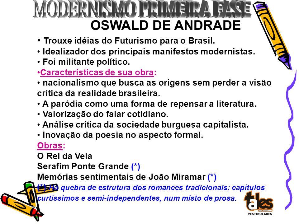 OSWALD DE ANDRADE Trouxe idéias do Futurismo para o Brasil.