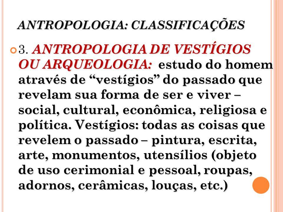 ANTROPOLOGIA: CLASSIFICAÇÕES
