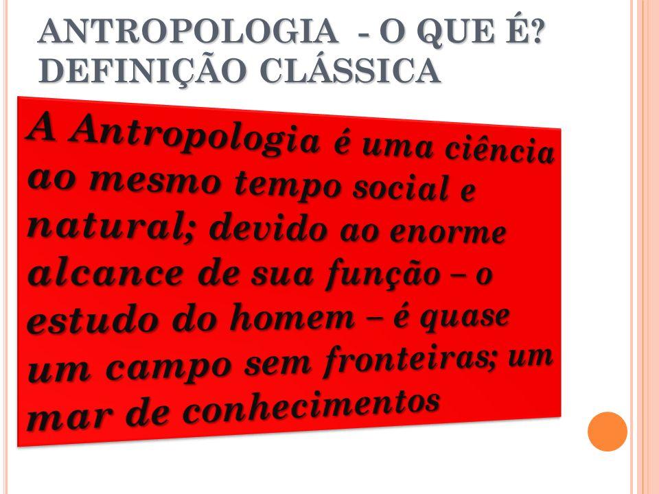 ANTROPOLOGIA - O QUE É DEFINIÇÃO CLÁSSICA
