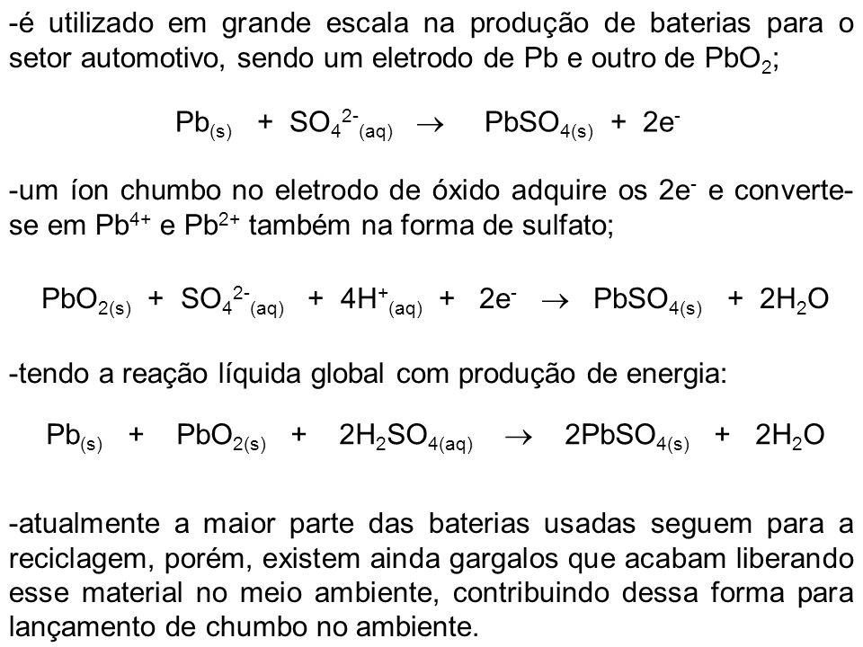 PbO2(s) + SO42-(aq) + 4H+(aq) + 2e-  PbSO4(s) + 2H2O