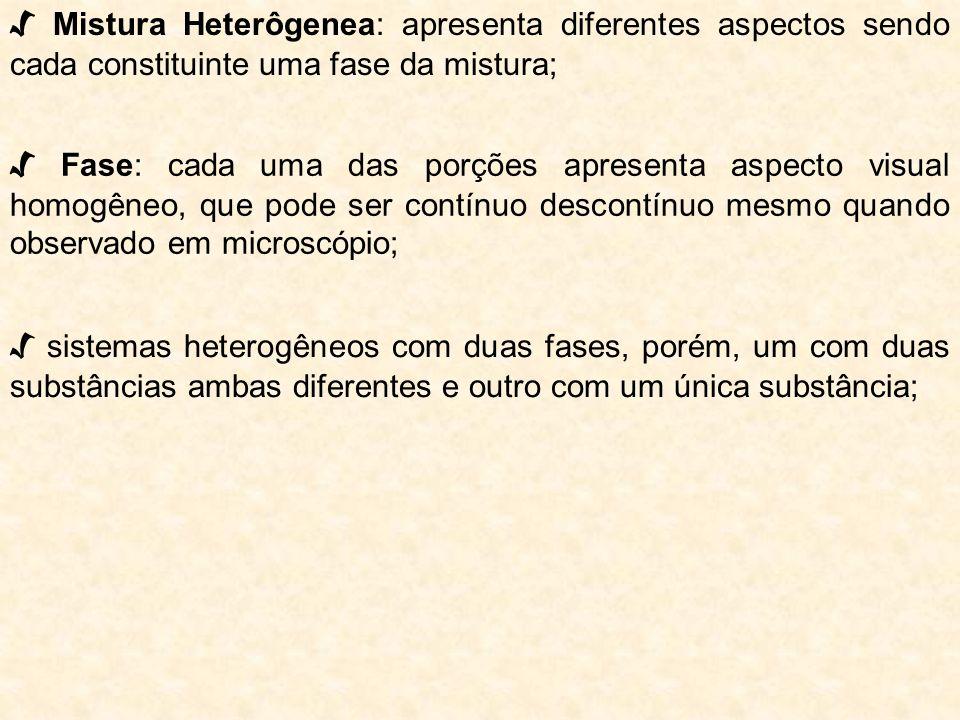 √ Mistura Heterôgenea: apresenta diferentes aspectos sendo cada constituinte uma fase da mistura;