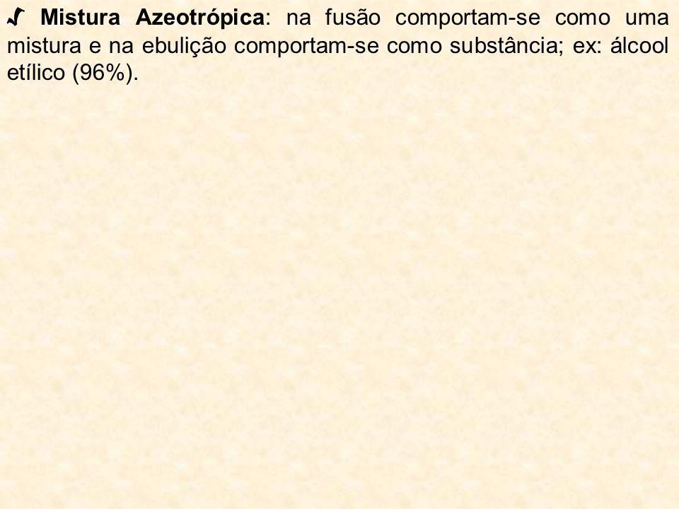 √ Mistura Azeotrópica: na fusão comportam-se como uma mistura e na ebulição comportam-se como substância; ex: álcool etílico (96%).