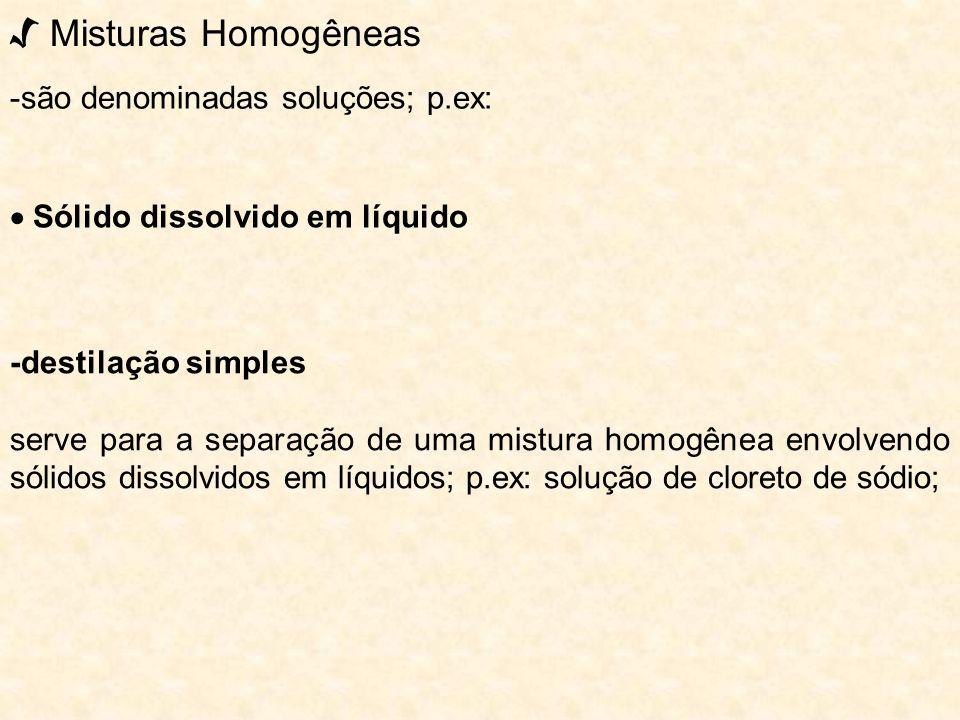 √ Misturas Homogêneas -são denominadas soluções; p.ex: