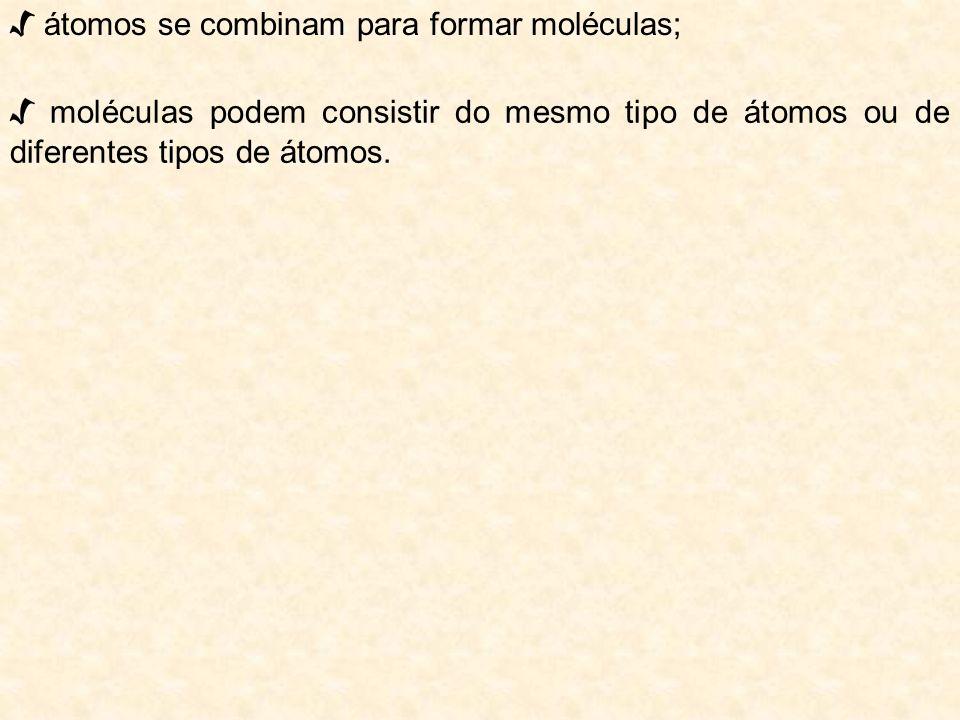 √ átomos se combinam para formar moléculas;