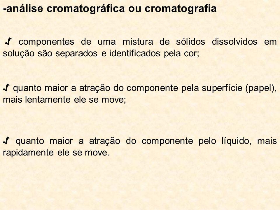-análise cromatográfica ou cromatografia