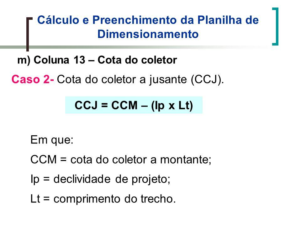 Cálculo e Preenchimento da Planilha de Dimensionamento