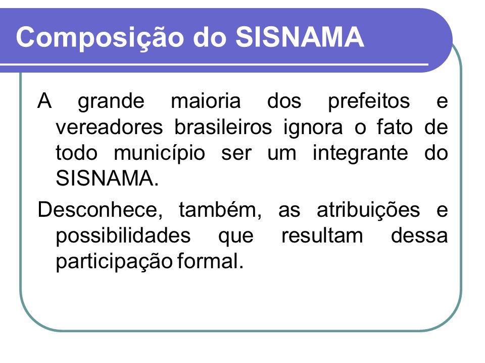 Composição do SISNAMA A grande maioria dos prefeitos e vereadores brasileiros ignora o fato de todo município ser um integrante do SISNAMA.