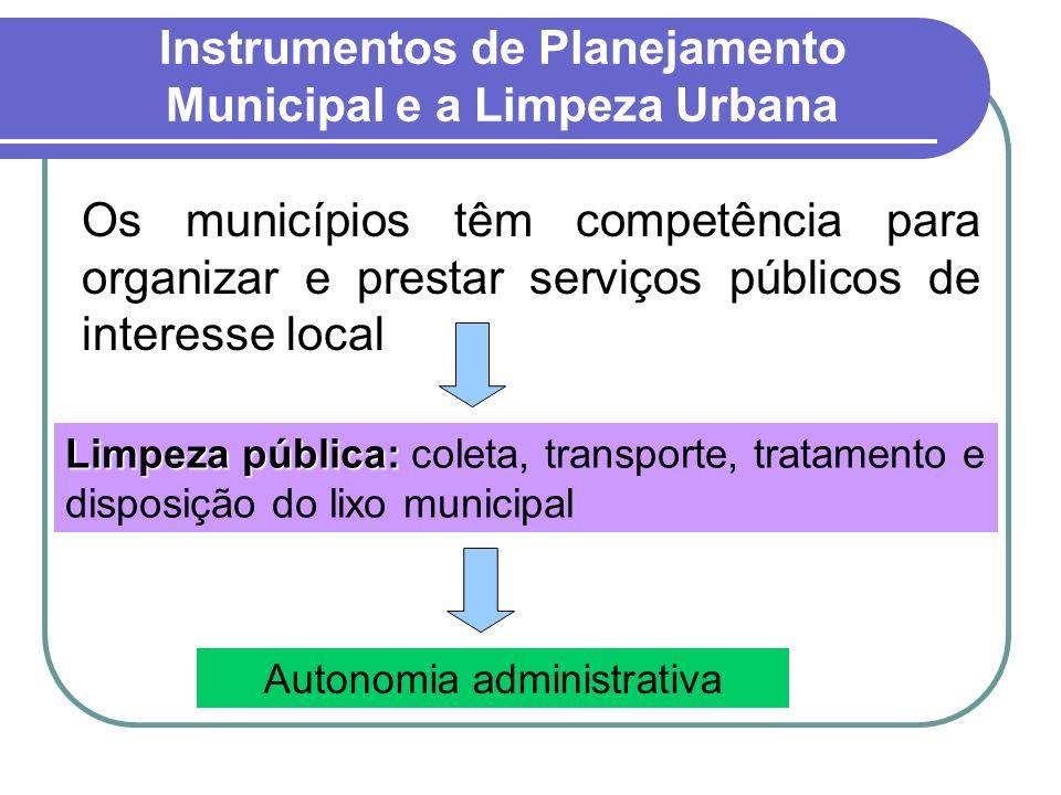 Instrumentos de Planejamento Municipal e a Limpeza Urbana