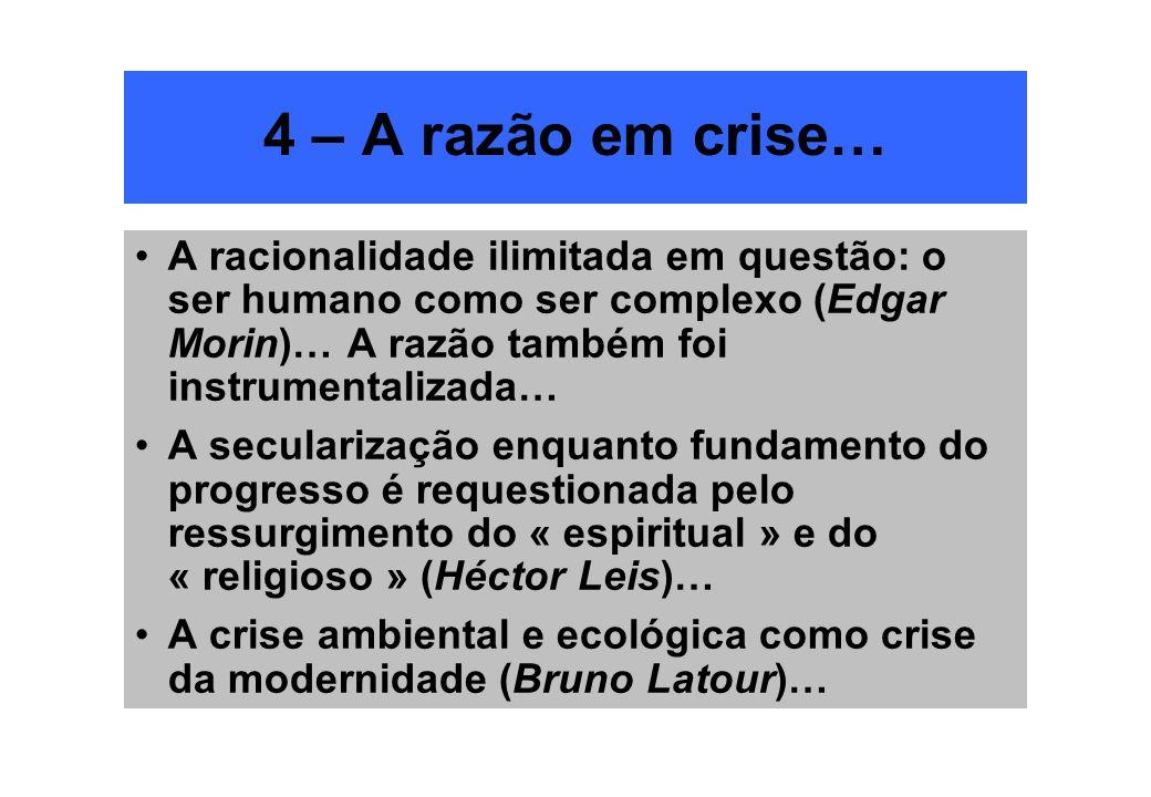 4 – A razão em crise… A racionalidade ilimitada em questão: o ser humano como ser complexo (Edgar Morin)… A razão também foi instrumentalizada…