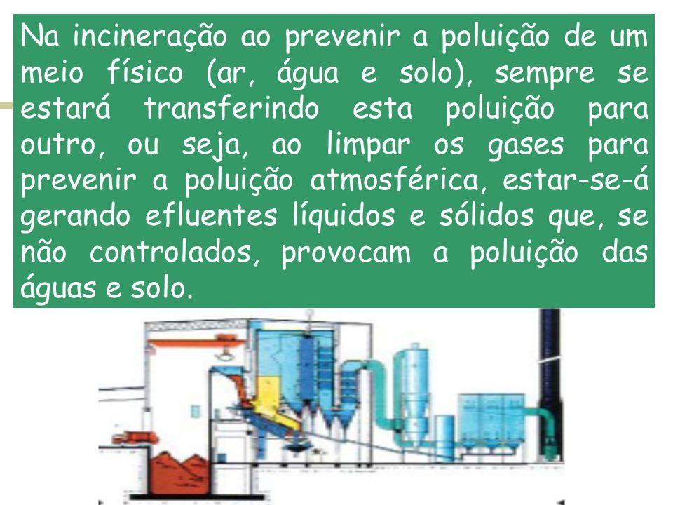 Na incineração ao prevenir a poluição de um meio físico (ar, água e solo), sempre se estará transferindo esta poluição para outro, ou seja, ao limpar os gases para prevenir a poluição atmosférica, estar-se-á gerando efluentes líquidos e sólidos que, se não controlados, provocam a poluição das águas e solo.