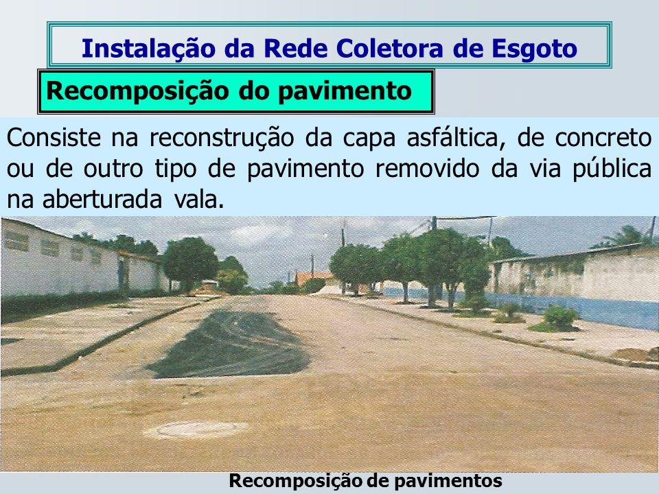 Instalação da Rede Coletora de Esgoto Recomposição de pavimentos