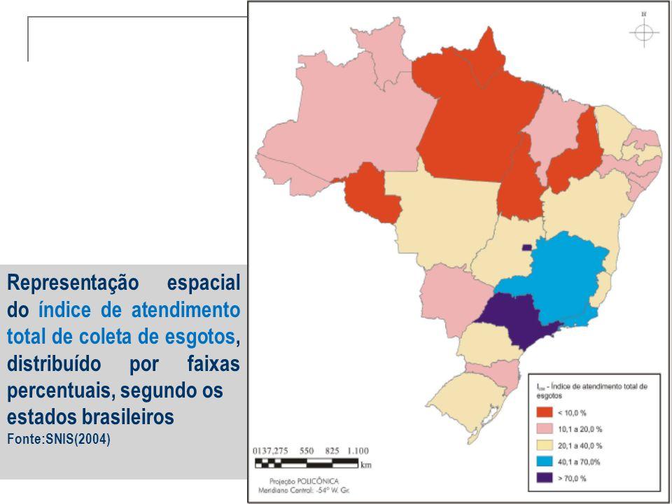 Representação espacial do índice de atendimento total de coleta de esgotos, distribuído por faixas percentuais, segundo os