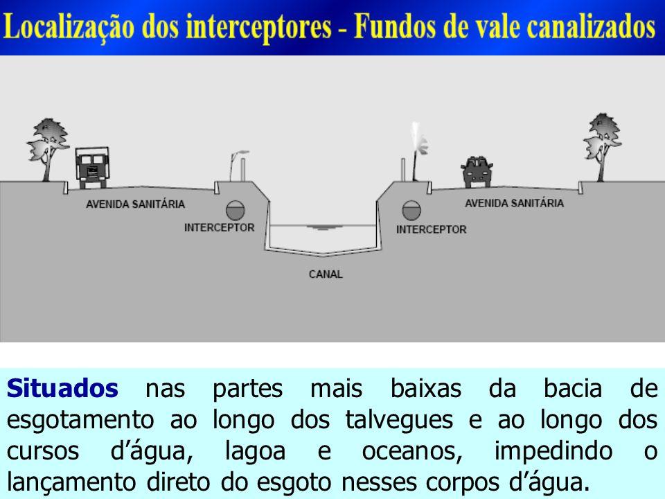 Situados nas partes mais baixas da bacia de esgotamento ao longo dos talvegues e ao longo dos cursos d'água, lagoa e oceanos, impedindo o lançamento direto do esgoto nesses corpos d'água.